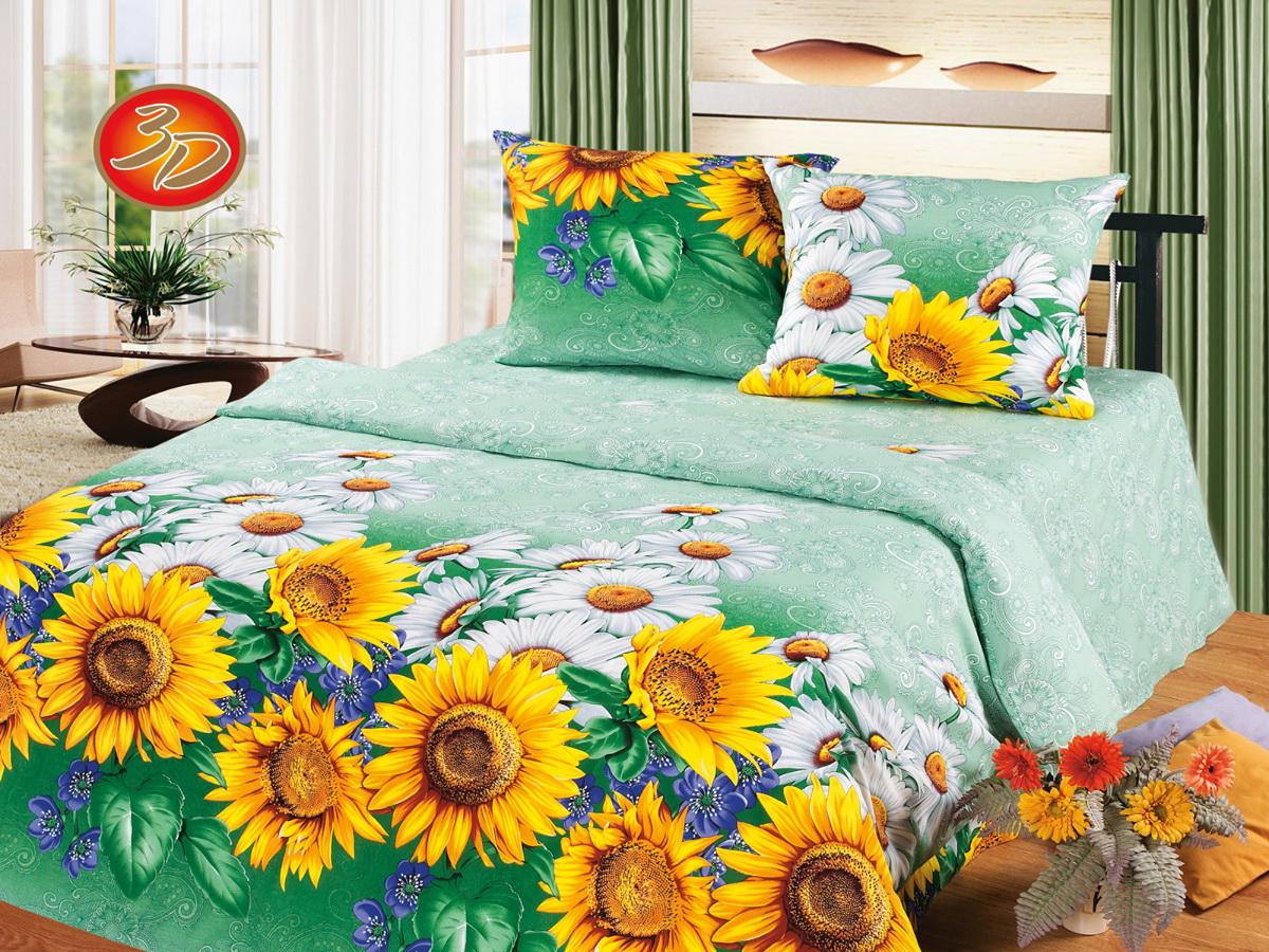 """Комплект белья Cleo """"Подсолнухи"""", 2-спальный, наволочки 70x70, Cleo Textile"""