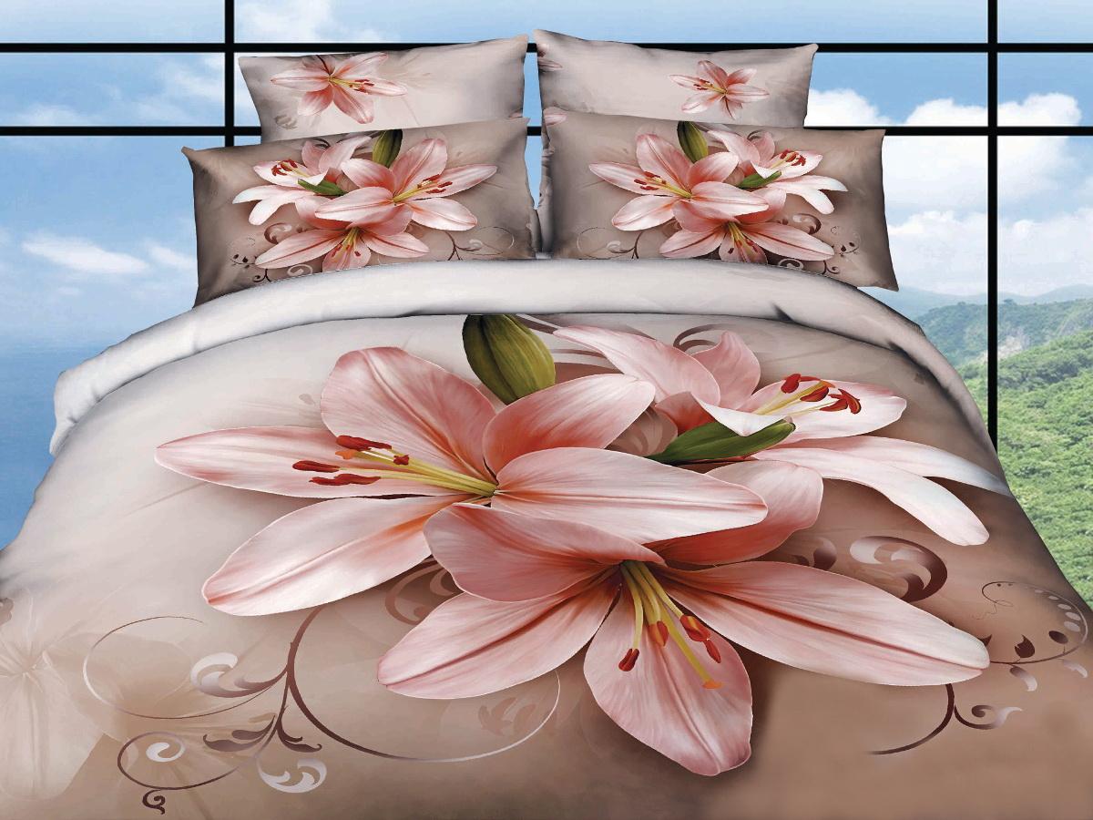 """Комплект белья 3D Cleo """"Лилия пастель"""", 1,5-спальный, наволочки 50x70, 70x70, Cleo Textile"""