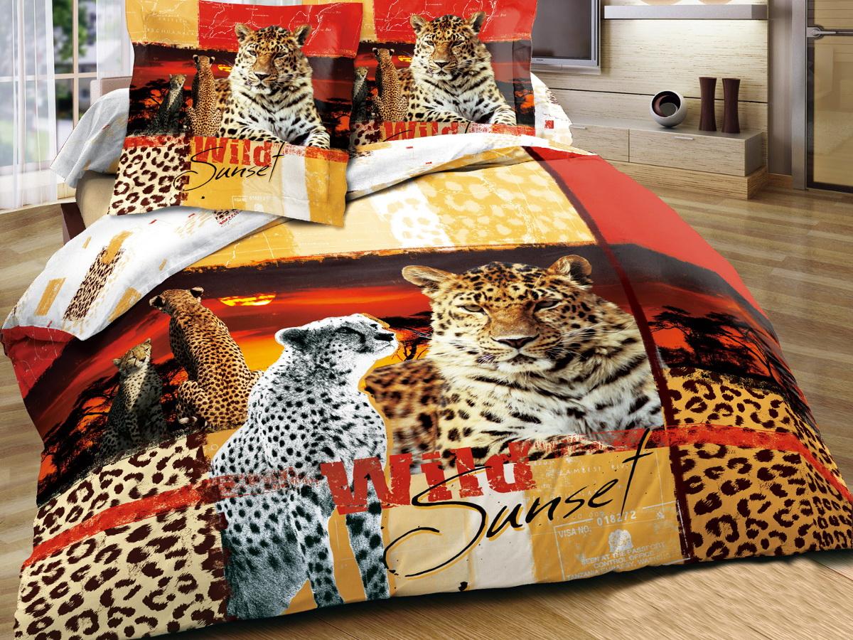 Комплект белья 3D Cleo Благородный леопард, семейный, наволочки 50x70, 70x70391602Коллекция CLEO Сатин 3D – погружение в мир красок! Сатин - это ткань из 100% хлопка, сатинового переплетения, имеет гладкую, шелковистую лицевую поверхность. Сатин изготавливается из крученой хлопковой нити двойного плетения. Сатин обладает рядом преимуществ: приятен на ощупь, не электризуется и не скользит, прекрасно сохраняет форму и не мнется, отлично пропускает воздух, не садится при стирке, не утрачивает яркости красок, не вызывает раздражения. Благодаря уникальному способу нанесения рисунка на ткань создается эффект 3D, краски становятся ярче, а дизайны реалистичнее. Вы погружаетесь в уникальный мир цветов, пейзажей и фауны. Комплект состоит из двух пододеяльников, четырех наволочек и простыни.