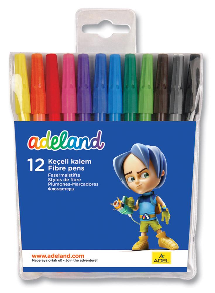 Adel Набор цветных фломастеров Adeland 12 штPP-220Цветные фломастеры Adel Adeland созданы специально для детей, любящих рисовать. Каждый фломастер оснащен вентилируемым колпачком и заправлен быстро сохнущими чернилами. Они подходят для рисования, письма или раскрашивания на бумаге, картоне и дереве. Набор состоит из 12 фломастеров с водорастворимыми чернилами.Фломастеры упакованы в пластиковый футляр с изображением героини Adelia из турецкого мультфильма Renk Koruyuculari.Не рекомендуется детям до 3-х лет.