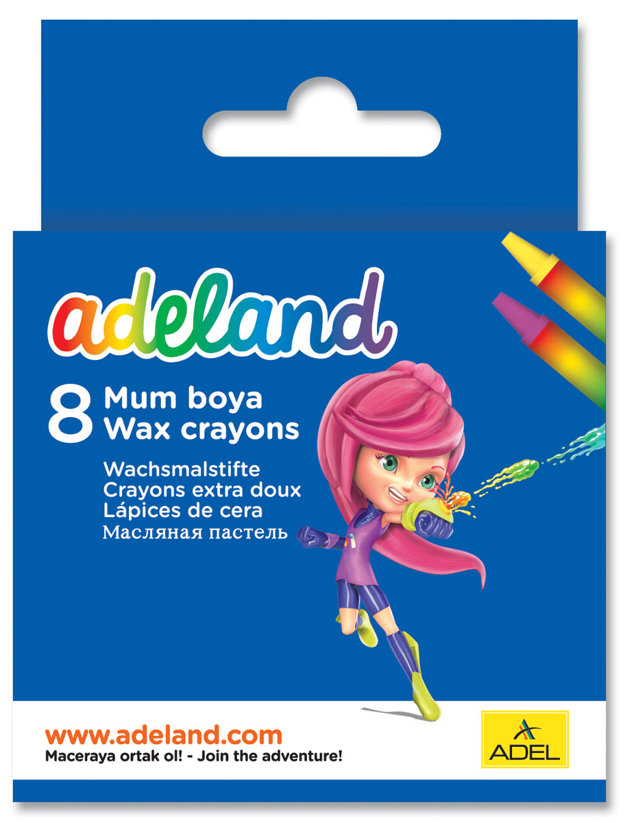 Adel Набор восковых мелков Adeland 8 шт428-0817-100Набор восковых мелков Adel Adeland создан специально для маленькой детской руки. Их можно использовать для рисования на бумаге, картоне, камне и деревянных поверхностях. Мелки не крошатся и выдерживают температуру до +60°С. При нанесении на бумагу они не теряют насыщенности цветов.Набор состоит из 8 мелков: фиолетового, желтого, оранжевого, красного, синего, зеленого, коричневого, черного цветов. При смешивании нескольких цветов получается богатая цветовая гамма.Не рекомендуется детям до 3-х лет.