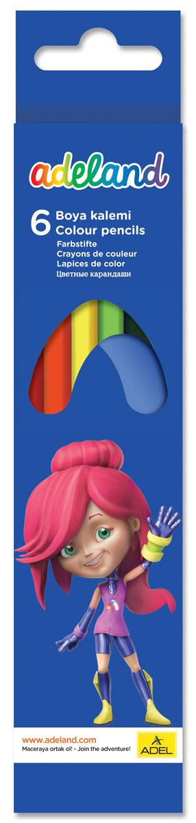 Adel Набор цветных карандашей Adeland 6 шт730396Цветные карандаши Adel Adeland созданы специально для маленькой детской руки. Специальная технология проклейки карандаша предотвращает повреждение грифеля при падении. Набор состоит из 6 ярких карандашей: желтого, красного, зеленого, голубого, черного и коричневого.Коробка оформлена изображением героини Аделии из турецкого мультфильма Renk Koruyuculari.Не рекомендуется детям до 3-х лет.