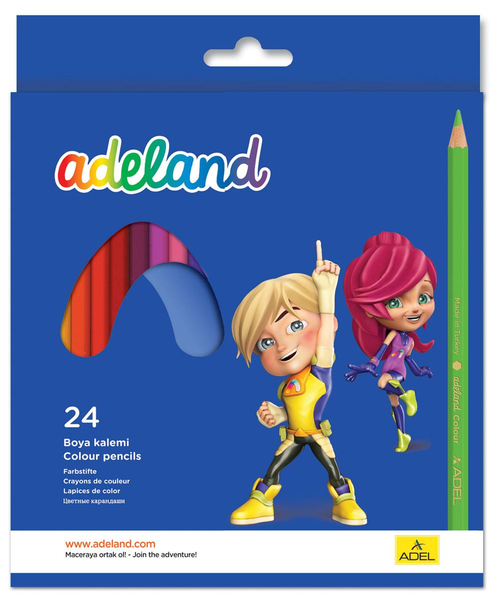 Adel Набор цветных карандашей Adeland 24 шт 211-2365-100SW-ACP205-18_голубойЦветные карандаши Adel Adeland созданы специально для маленькой детской руки. Специальная технология проклейки карандаша предотвращает повреждение грифеля при падении. Набор состоит из 24 легко затачиваемых карандашей ярких цветов.Они упакованы в картонную коробку с изображением героев Hiro и Adelia из турецкого мультфильма Renk Koruyuculari.Не рекомендуется детям до 3-х лет.