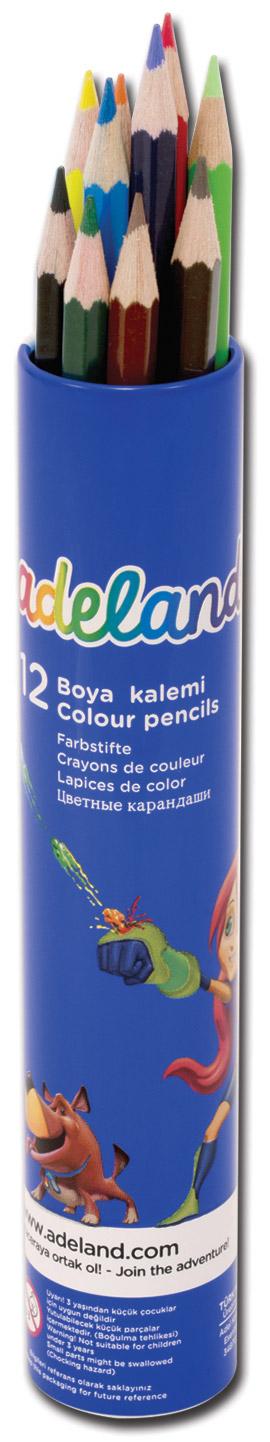 Adel Набор цветных карандашей Adeland 12 шт72523WDЦветные карандаши Adel Adeland созданы специально для маленькой детской руки. Специальная технология проклейки предотвращает повреждение грифеля при падении. Набор состоит из 12 ярких карандашей: голубого, синего, фиолетового, красного, оранжевого, желтого, розового, салатового, зеленого, черного, коричневого и светло-коричневого.Карандаши находятся в удобном алюминиевом тубусе.Не рекомендуется детям до 3-х лет.