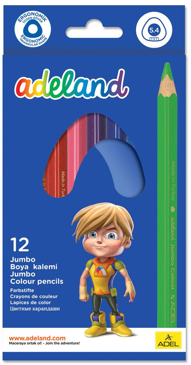Adel Набор цветных карандашей Adeland Jumbo 12 шт 211-7510-110 карандаши цветные adel adeland jumbo 5 4мм 12 цветов 211 7510 110