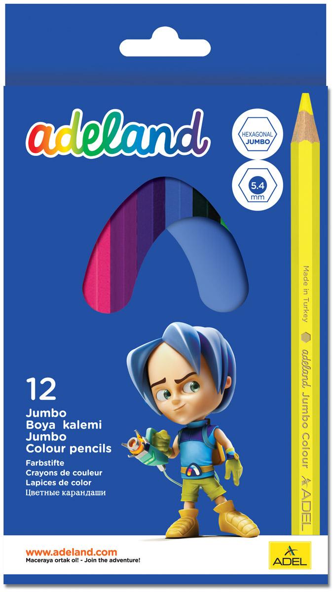Adel Набор цветных карандашей Adeland Jumbo Hexa 12 шт 211-9510-100 карандаши цветные adel adeland jumbo 5 4мм 12 цветов 211 7510 110