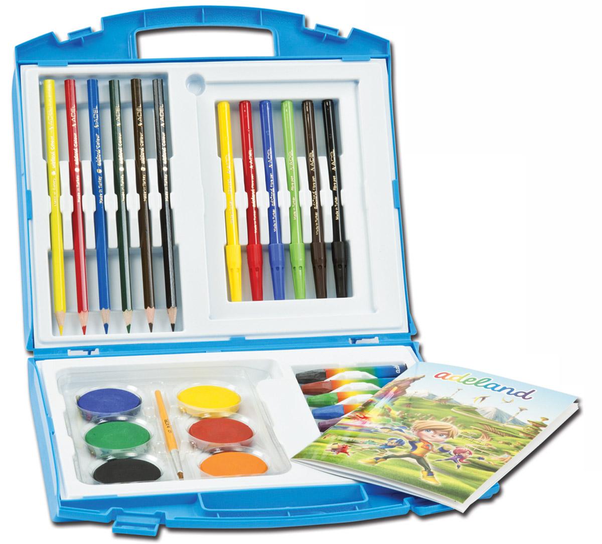 Adel Набор для рисования Adeland Adfun72523WDНабор для рисования Adel Adeland Adfun - прекрасный комплект для юного художника. Все принадлжености хранятся в удобном пластиковом чемоданчике. Разноцветные карандаши, краски, пастельные мелки и фломастеры помогут вашему малышу познакомится с различными художественными стилями и выбрать наиболее понравившийся. А воплотить все задумки поможет альбом для рисования, который также входит в комплект.Краски не содержат токсичных веществ, поэтому совершенно безопасны для здоровья вашего ребенка.Не рекомендуется детям до 3-х лет.