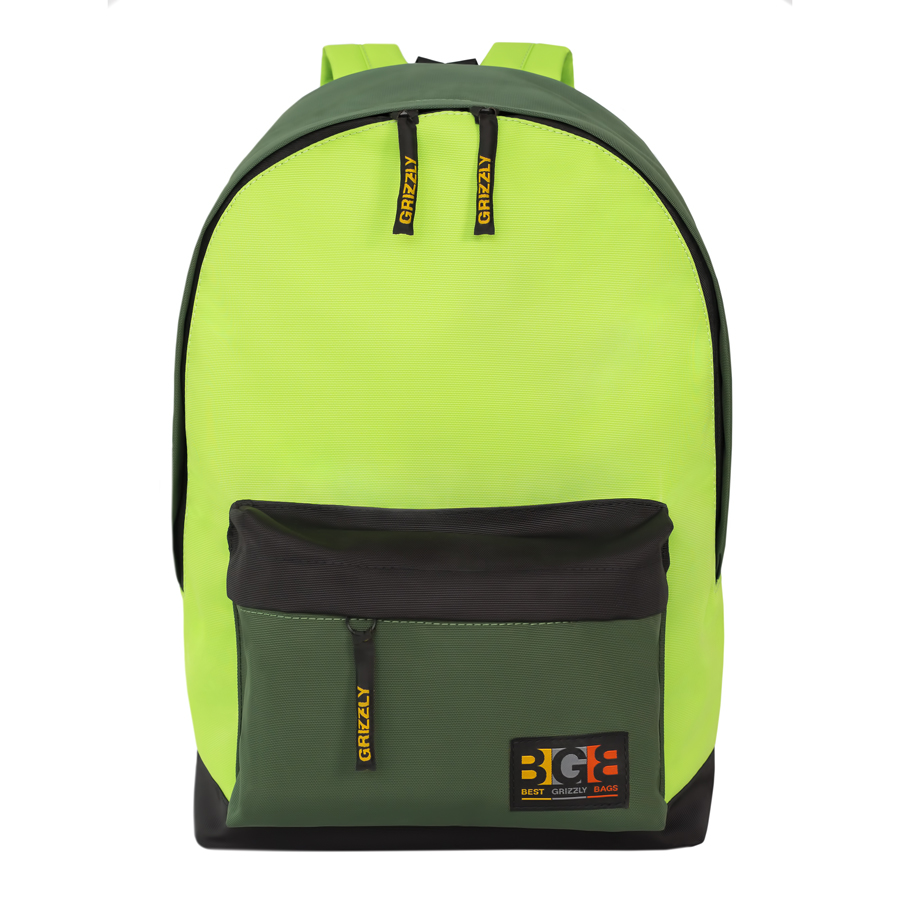 Рюкзак молодежный  Grizzly , цвет: черный-салатовый. 18 л. RU-704-3/2 - Рюкзаки