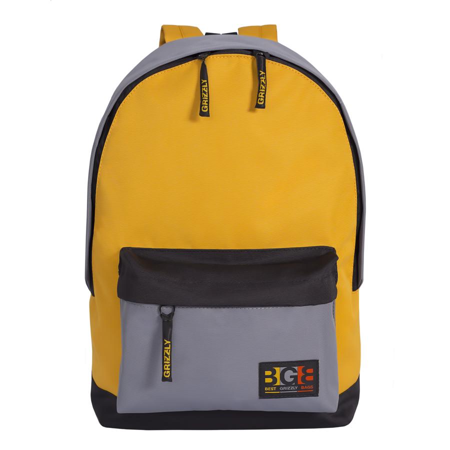 Рюкзак молодежный Grizzly, цвет: черный-желтый. 18 л. RU-704-3/1ГризлиРюкзак городской Grizzl выполнен из высококачественного таслана. Рюкзак имеет ручку-петлю для подвешивания и две укрепленные лямки, длина которых регулируется с помощью пряжек. Модель имеет одно основное отделение, которое дополнено внутренним подвесным карманом на молнии.Передняя сторона оснащена одним объемным карманом.Тыльная сторона рюкзака имеет укрепленную спинку.