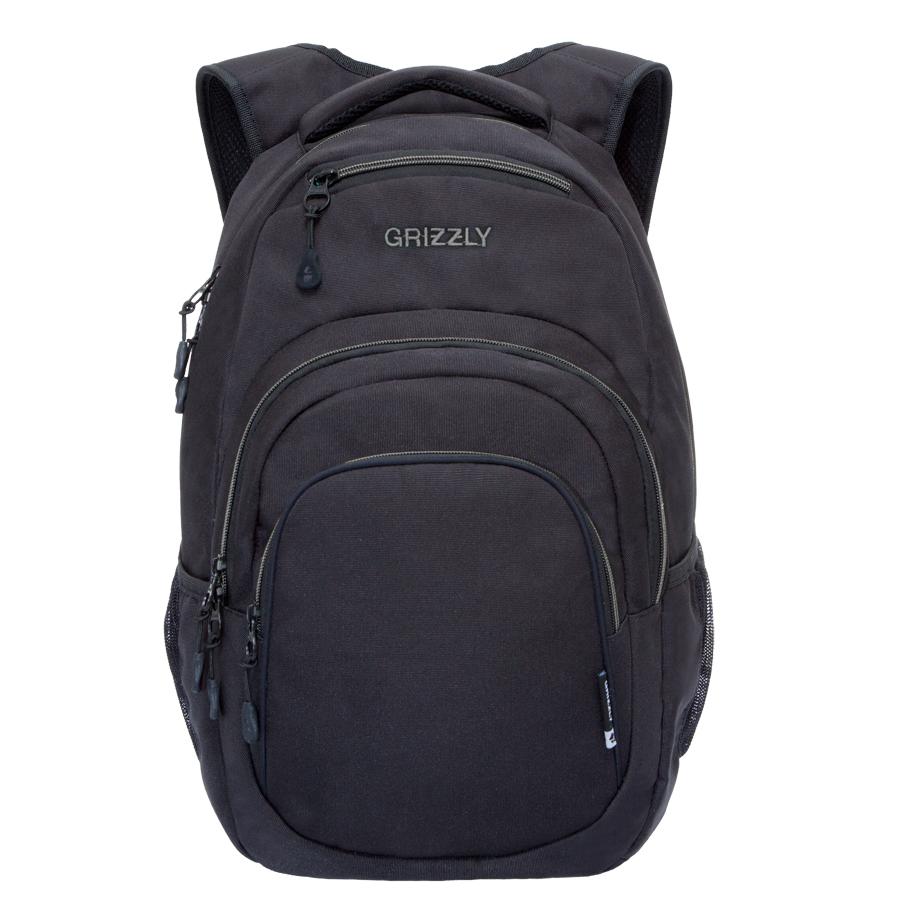 Рюкзак молодежный Grizzly, цвет: черный-серый. 32 л. RU-700-1/4ГризлиРюкзак молодежный, одно отделение, карман на молнии на передней стенке, объемный карман на молнии на передней стенке, боковые карманы из сетки, внутренний составной пенал-органайзер, внутренний укрепленный карман для ноутбука, укрепленная спинка, карман быстрого доступа в верхней части рюкзака, мягкая укрепленная ручка, нагрудная стяжка-фиксатор, укрепленные лямки.