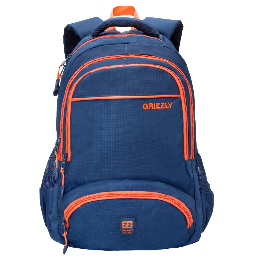 Рюкзак городской Grizzly, цвет: синий, оранжевый. 24 л. RU-618-6/2MABLSEH10001Рюкзак городской Grizzl выполнен из высококачественного нейлона. Рюкзак имеет ручку-петлю для подвешивания и две укрепленные лямки, длина которых регулируется с помощью пряжек. Модель имеет два основных отделения, которые дополнены внутренним подвесным карманом на молнии и карманом для ноутбука.Передняя сторона оснащена двумя объемными карманами на молнии. Боковые стенки дополнены объемными карманами из сетки. Тыльная сторона рюкзака имеет укрепленную спинку.