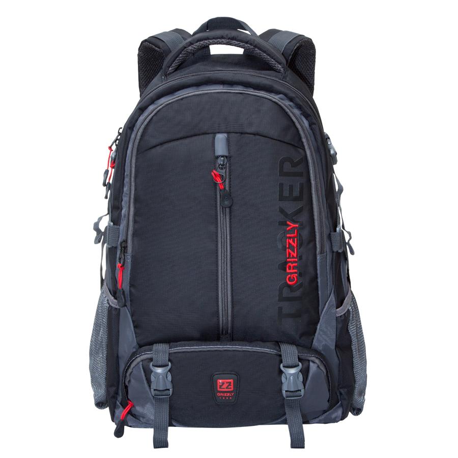Рюкзак спортивный Grizzly, цвет: черный. 32 л. RU-617-2/4RU-617-2/4Удобный спортивный рюкзак Grizzl выполнен из высококачественного нейлона и оформлен принтованными надписями. Рюкзак имеет петлю для подвешивания и две удобные лямки, длина которых регулируется с помощью пряжек. Изделие имеет два основных отделения, одно из которых дополнено карманом для ноутбука. Боковые стенки оснащены объемными карманами из сетки и боковыми фиксаторами. Передняя стенка имеет объемный и втачной карман на застежке-молнии. Спинка дополнена анатомической укрепленной вставкой и нагрудной стяжкой-фиксатором.