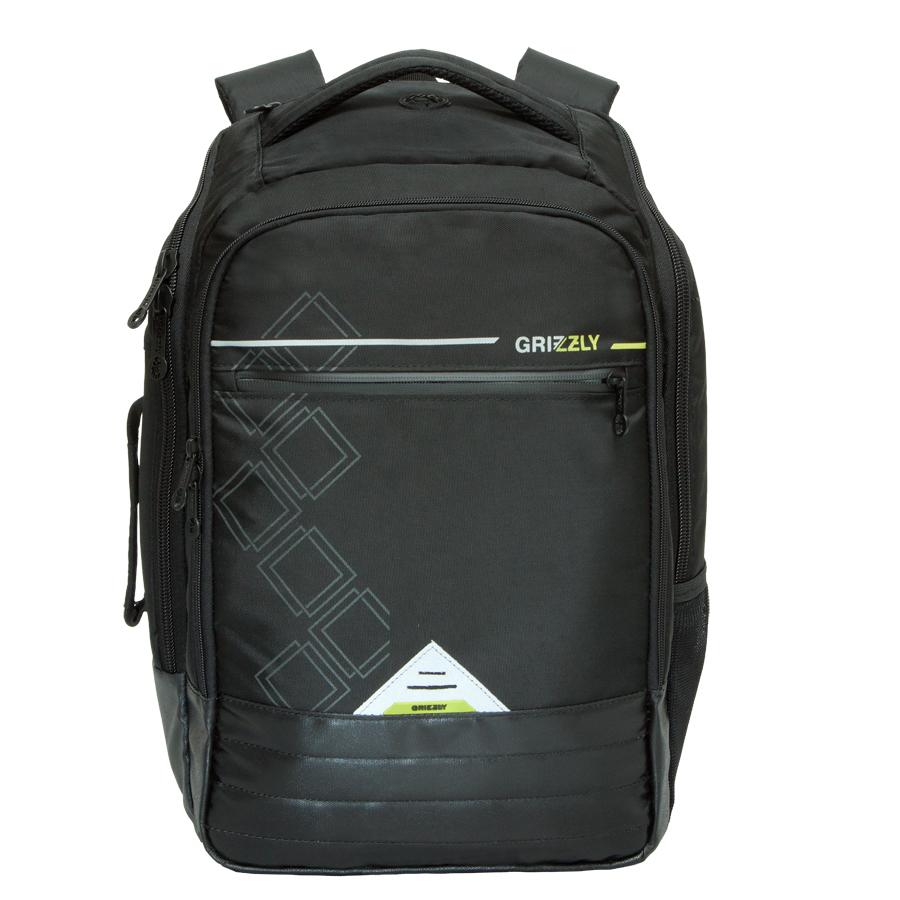 Рюкзак городской Grizzly, цвет: черный. 26л. RU-616-1/2BP-001 BKРюкзак городской Grizzl выполнен из высококачественного полиэстера и оформлен стильным принтом. Рюкзак имеет петлю для подвешивания и две удобные лямки, длина которых регулируется с помощью пряжек. Изделие имеет два основных отделения, которые дополнены стандартным карманом на молнии, внутренним составным пеналом-органайзером, укрепленным карманом для ноутбука и карманом для аудиоплеера. Боковые стенки оснащены одним карманом и удобной ручкой. Передняя стенка имеет втачной карман на застежке-молнии. Спинка дополнена укрепленной вставкой и нагрудной стяжкой-фиксатором.