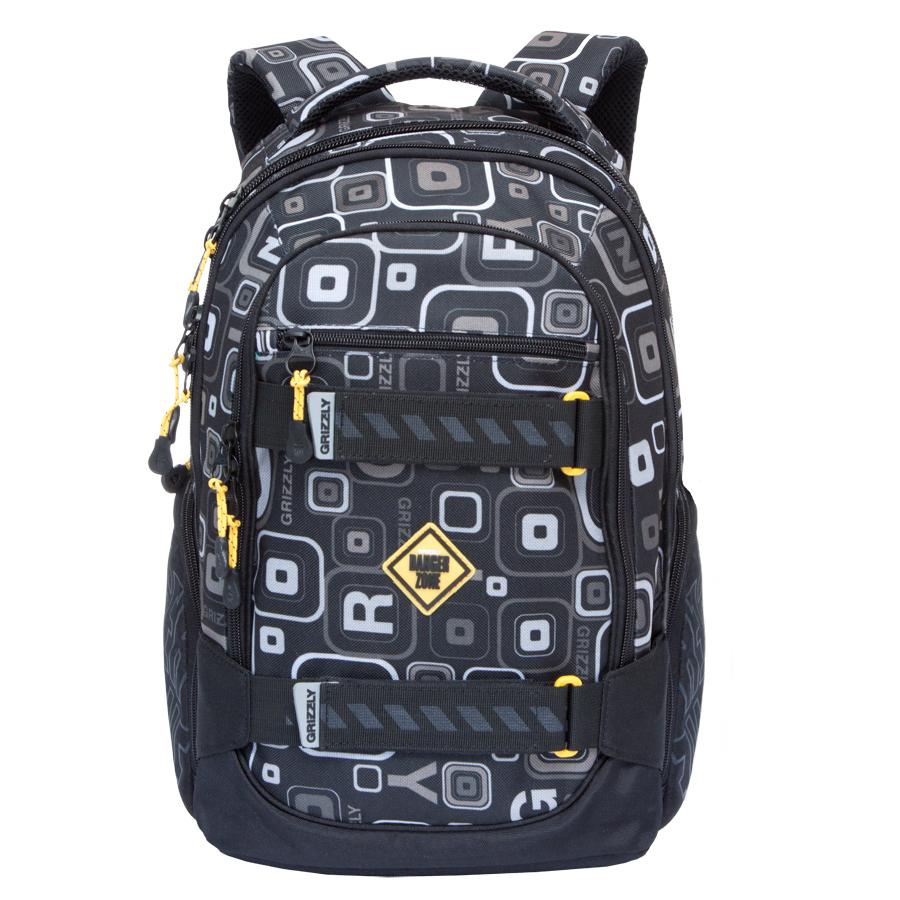 Рюкзак городской Grizzly, цвет: черный, серый. 24 л. RU-602-1/11RivaCase 8460 blackРюкзак городской Grizzl выполнен из высококачественного полиэстера и оформлен стильным принтом. Рюкзак имеет петлю для подвешивания и две удобные лямки, длина которых регулируется с помощью пряжек. Изделие имеет три основных отделения, которые дополнены стандартным карманом, внутренним подвесным карманом на молнии и составным пеналом-органайзером. Боковые стенки оснащены объемными карманами на молнии. Передняя стенка имеет втачной карман на застежке-молнии. Спинка дополнена анатомической укрепленной вставкой.