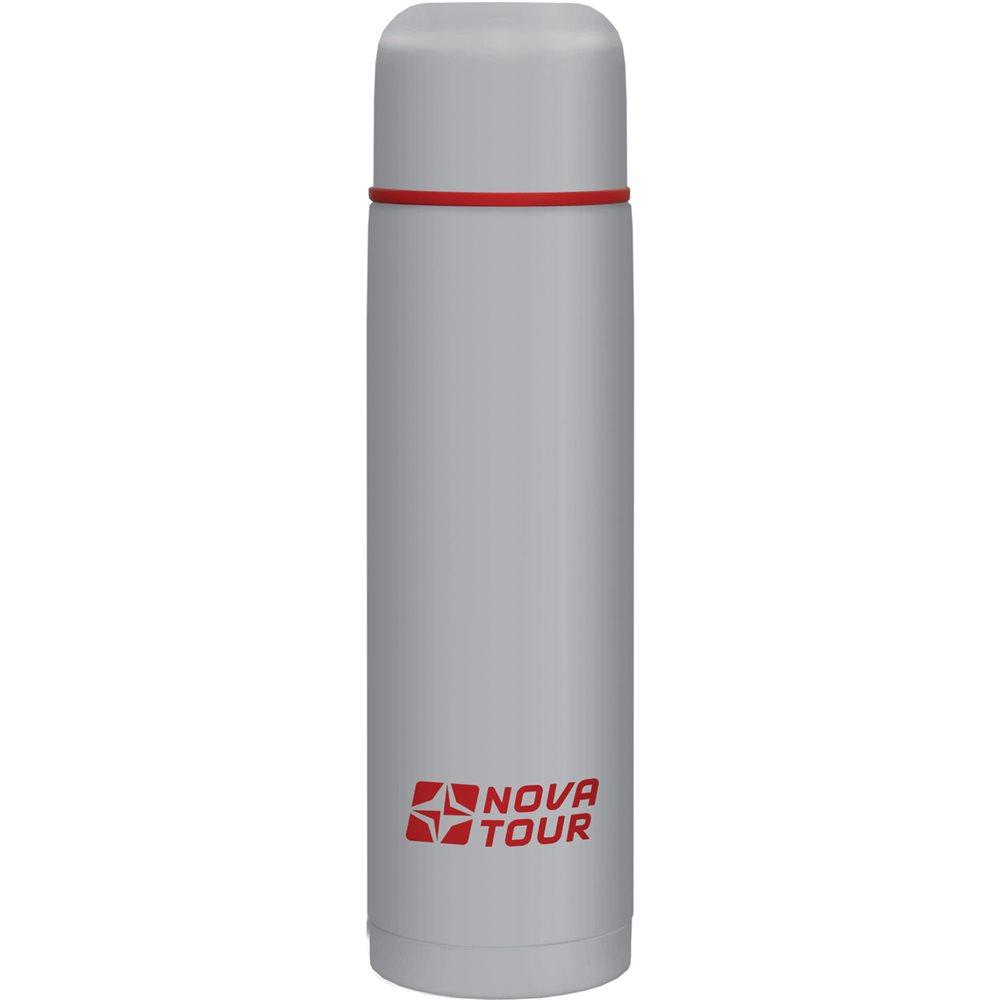 Термос NOVA TOUR Титаниум, цвет: серый, красный, 1 л67742Современный и функциональный термос NOVA TOUR Титаниум с широким горлом выполнен из пищевой нержавеющей стали. Он имеет поворотный клапан (достаточно повернуть пробку на пол-оборота чтобы налить содержимое из термоса). Клапан дает возможность при наливании не открывать термос целиком для меньшего охлаждения содержимого. Небольшой диаметр термоса делает корпус удобным для обхвата даже детской рукой.