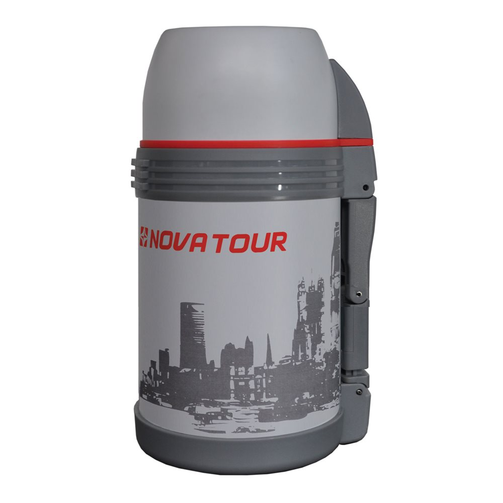 Термос NOVA TOUR Биг Бэн, цвет: серый, красный, 1,5 лVT-1520(SR)Современный и функциональный термос Nova Tour Биг Бэн с широким горлом выполнен из пищевой нержавеющей стали. Он имеет поворотный клапан (достаточно повернуть пробку на пол-оборота чтобы налить содержимое из термоса). Клапан дает возможность при наливании не открывать термос целиком для меньшего охлаждения содержимого. Складная пластмассовая рукоятка обеспечивает удобство наливания содержимого. Регулируемый ремешок для переноски термоса в комплекте. Крышку можно использовать в качестве чашки. Также термос имеет дополнительную пластиковую миску под крышкой термоса.