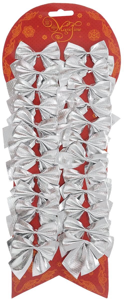 Набор новогодних украшений Magic Time Бант, цвет: серебристый, 24 шт. 4275942191Набор новогодних украшений Magic Time Бант прекрасно подойдет для праздничного декора новогодней ели. Набор состоит из 24 бантов, изготовленных из полиэстера. Для удобного размещения на елке с оборотной стороны банты оснащены двумя проволоками. Коллекция декоративных украшений принесет в ваш дом ни с чем не сравнимое ощущение волшебства! Откройте для себя удивительный мир сказок и грез. Почувствуйте волшебные минуты ожидания праздника, создайте новогоднее настроение вашим дорогим и близким. Размер украшения: 5 х 5 см.