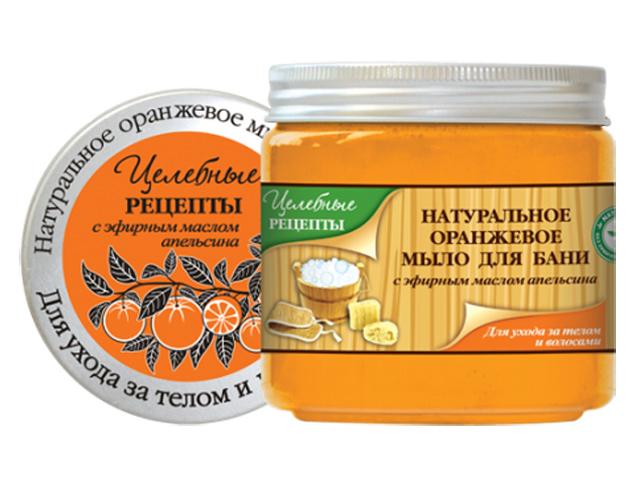 Целебные Рецепты Натуральное Оранжевое мыло для бани для волос и тела 500 мл.AC-1121RDНа основе натурального эфирного масла апельсина. Эфирное масло апельсина обладает тонизирующим свойством, повышает упругость и способствует обновлению клеток кожи, препятствует образованию морщин. Восхитительный аромат свежего сладкого апельсина, согретого теплом южного солнца, обволакивает, создает ощущение праздника, заряжает бодростью и позитивом. Высокое содержание натуральных экстрактов оказывает оздоравливающее действие на кожу и волосы и дополняет целебное действие эфирного масла. Мягкая и обильная пена бережно очищает кожу и волосы, надолго обеспечивая ощущение комфорта.