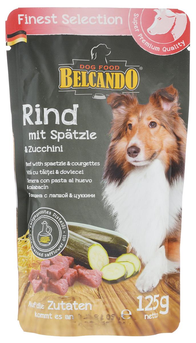 Консервы для собак Belcando, с говядиной, лапшой и цуккини, 125 г. 433500120710Консервы для собак Belcando - это великолепная рецептура в практичной индивидуальной порции. Сочное мясо в сочетании с изысканными ингредиентами бережно готовится в порционных пакетиках. Консервы для собак Belcando является натуральным продуктом и готовится без применения ароматических веществ, красителей и консервантов.Товар сертифицирован.