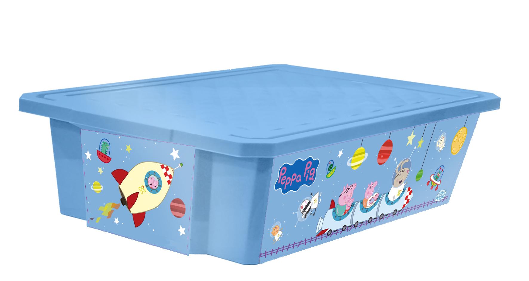 Ящик для хранения игрушек Little Angel Свинка Пеппа. X-BOX, цвет: голубой, 30 л531-301Лучшее решение для поддержания порядка в детской – это большой ящик на колесах. Все игрушки собраны в одном месте, ящик плотно закрывается крышкой, его всегда можно с легкостью переместить. Яркие декоры с любимыми героями наполнят детскую радостью и помогут приучить малыша к порядку. Преимущества: эксклюзивные декоры с любимыми героями; эффективные колеса-роллеры на дне; надежная крышка с привлекательной текстурой; возможность штабелирования ящиков друг на друга; декор размещен на всех сторонах ящика.
