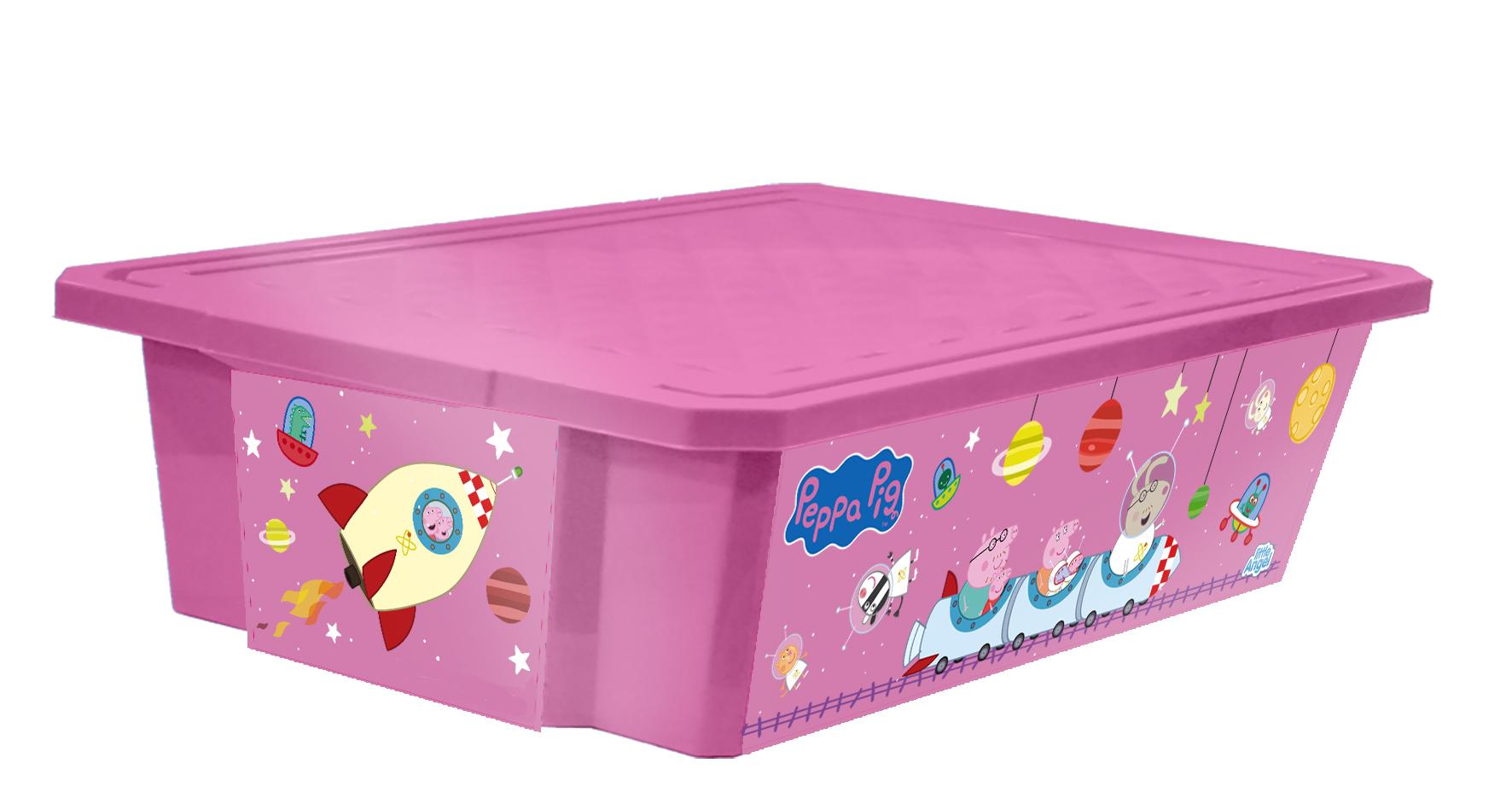 Ящик для хранения игрушек Little Angel Свинка Пеппа. X-BOX, цвет: розовый, 30 л531-301Лучшее решение для поддержания порядка в детской – это большой ящик на колесах. Все игрушки собраны в одном месте, ящик плотно закрывается крышкой, его всегда можно с легкостью переместить. Яркие декоры с любимыми героями наполнят детскую радостью и помогут приучить малыша к порядку. Преимущества: эксклюзивные декоры с любимыми героями; эффективные колеса-роллеры на дне; надежная крышка с привлекательной текстурой; возможность штабелирования ящиков друг на друга; декор размещен на всех сторонах ящика.