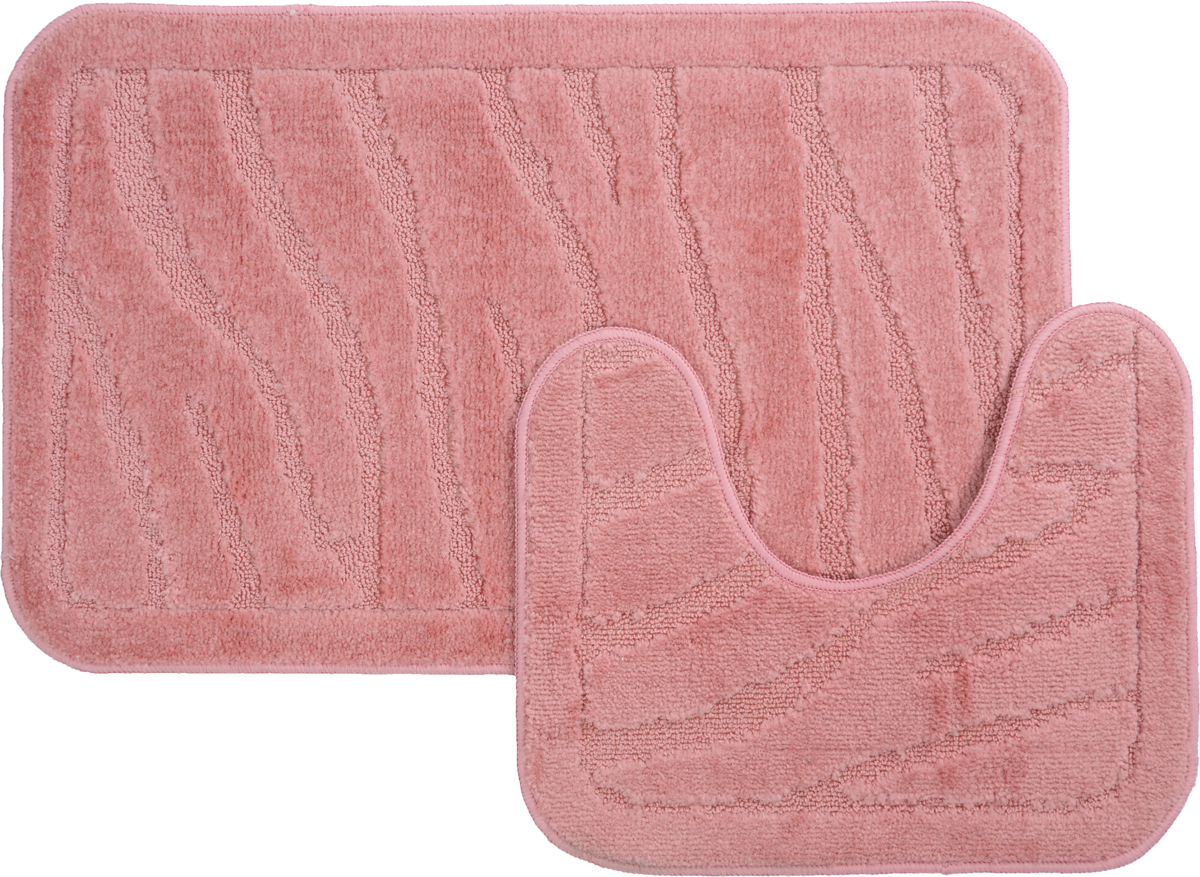 Набор ковриков для ванной MAC Carpet Рома. Линии, цвет: розовый, 50 х 80 см, 50 х 40 см, 2 шт68/5/2Набор MAC Carpet Рома. Линии, выполненный из полипропилена, состоит из двух ковриков для ванной комнаты, один из которых имеет вырез под унитаз. Противоскользящее основание изготовлено из термопластичной резины. Коврики мягкие и приятные на ощупь, отлично впитывают влагу и быстро сохнут. Высокая износостойкость ковриков и стойкость цвета позволит вам наслаждаться покупкой долгие годы. Можно стирать вручную или в стиральной машине на деликатном режиме при температуре 30°С.