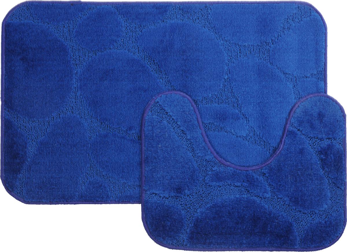 Набор ковриков для ванной MAC Carpet Рома. Камни, цвет: темно-синий, 50 х 80 см, 50 х 40 см, 2 шт391602Набор MAC Carpet Рома. Камни, выполненный из полипропилена, состоит из двух ковриков для ванной комнаты, один из которых имеет вырез под унитаз. Противоскользящее основание изготовлено из термопластичной резины. Коврики мягкие и приятные на ощупь, отлично впитывают влагу и быстро сохнут. Высокая износостойкость ковриков и стойкость цвета позволит вам наслаждаться покупкой долгие годы. Можно стирать вручную или в стиральной машине на деликатном режиме при температуре 30°С.