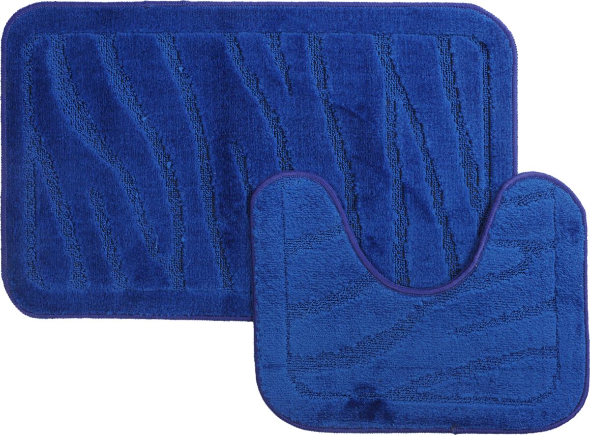 Набор ковриков для ванной MAC Carpet Рома. Линии, цвет: темно-синий, 50 х 80 см, 50 х 40 см, 2 шт68/5/3Набор MAC Carpet Рома. Линии, выполненный из полипропилена, состоит из двух ковриков для ванной комнаты, один из которых имеет вырез под унитаз. Противоскользящее основание изготовлено из термопластичной резины. Коврики мягкие и приятные на ощупь, отлично впитывают влагу и быстро сохнут. Высокая износостойкость ковриков и стойкость цвета позволит вам наслаждаться покупкой долгие годы. Можно стирать вручную или в стиральной машине на деликатном режиме при температуре 30°С.