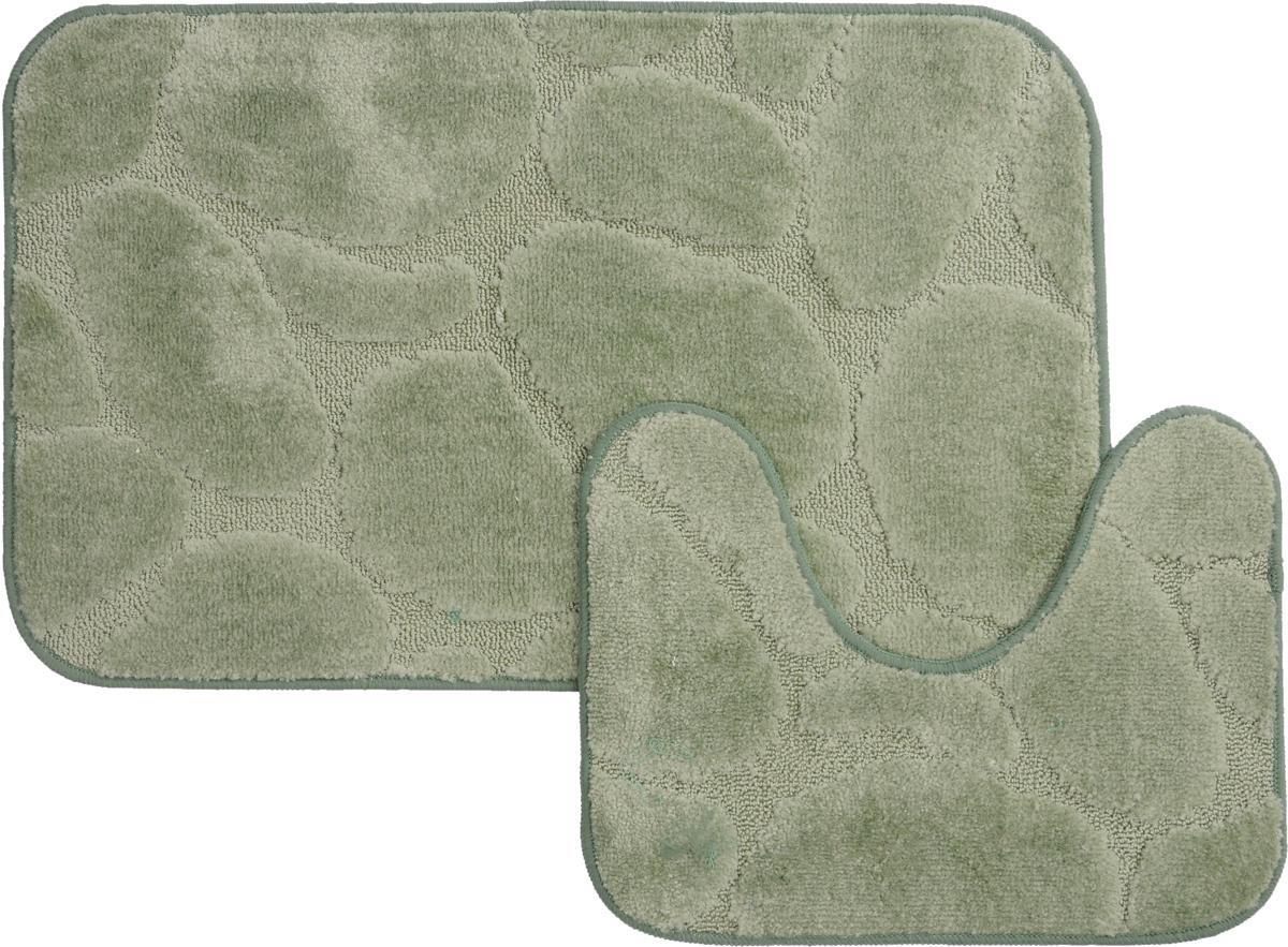 Набор ковриков для ванной MAC Carpet Рома. Камни, цвет: светло-зеленый, 50 х 80 см, 50 х 40 см, 2 шт391602Набор MAC Carpet Рома. Камни, выполненный из полипропилена, состоит из двух ковриков для ванной комнаты, один из которых имеет вырез под унитаз. Противоскользящее основание изготовлено из термопластичной резины. Коврики мягкие и приятные на ощупь, отлично впитывают влагу и быстро сохнут. Высокая износостойкость ковриков и стойкость цвета позволит вам наслаждаться покупкой долгие годы. Можно стирать вручную или в стиральной машине на деликатном режиме при температуре 30°С.