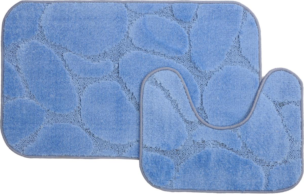 Набор ковриков для ванной MAC Carpet Рома. Камни, цвет: голубой, 50 х 80 см, 50 х 40 см, 2 шт531-105Набор MAC Carpet Рома. Камни, выполненный из полипропилена, состоит из двух ковриков для ванной комнаты, один из которых имеет вырез под унитаз. Противоскользящее основание изготовлено из термопластичной резины. Коврики мягкие и приятные на ощупь, отлично впитывают влагу и быстро сохнут. Высокая износостойкость ковриков и стойкость цвета позволит вам наслаждаться покупкой долгие годы. Можно стирать вручную или в стиральной машине на деликатном режиме при температуре 30°С.