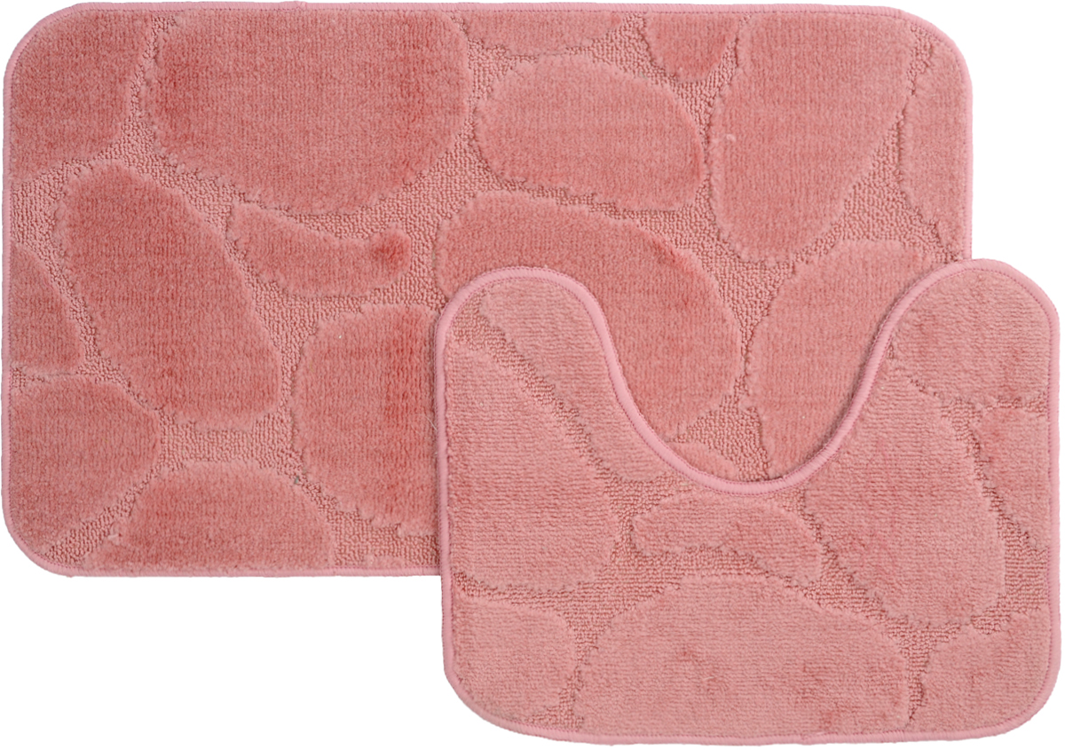 Набор ковриков для ванной MAC Carpet Рома. Камни, цвет: розовый, 50 х 80 см, 50 х 40 см, 2 шт391602Набор MAC Carpet Рома. Камни, выполненный из полипропилена, состоит из двух ковриков для ванной комнаты, один из которых имеет вырез под унитаз. Противоскользящее основание изготовлено из термопластичной резины. Коврики мягкие и приятные на ощупь, отлично впитывают влагу и быстро сохнут. Высокая износостойкость ковриков и стойкость цвета позволит вам наслаждаться покупкой долгие годы. Можно стирать вручную или в стиральной машине на деликатном режиме при температуре 30°С.