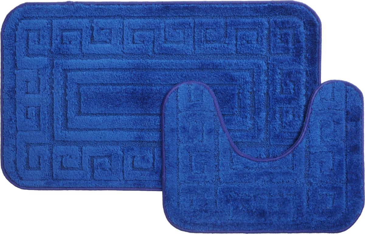 Набор ковриков для ванной MAC Carpet Рома. Версаче, цвет: темно-синий, 50 х 80 см, 50 х 40 см, 2 шт68/5/4Набор MAC Carpet Рома. Версаче, выполненный из полипропилена, состоит из двух ковриков для ванной комнаты, один из которых имеет вырез под унитаз. Противоскользящее основание изготовлено из термопластичной резины. Коврики мягкие и приятные на ощупь, отлично впитывают влагу и быстро сохнут. Высокая износостойкость ковриков и стойкость цвета позволит вам наслаждаться покупкой долгие годы. Можно стирать вручную или в стиральной машине на деликатном режиме при температуре 30°С.