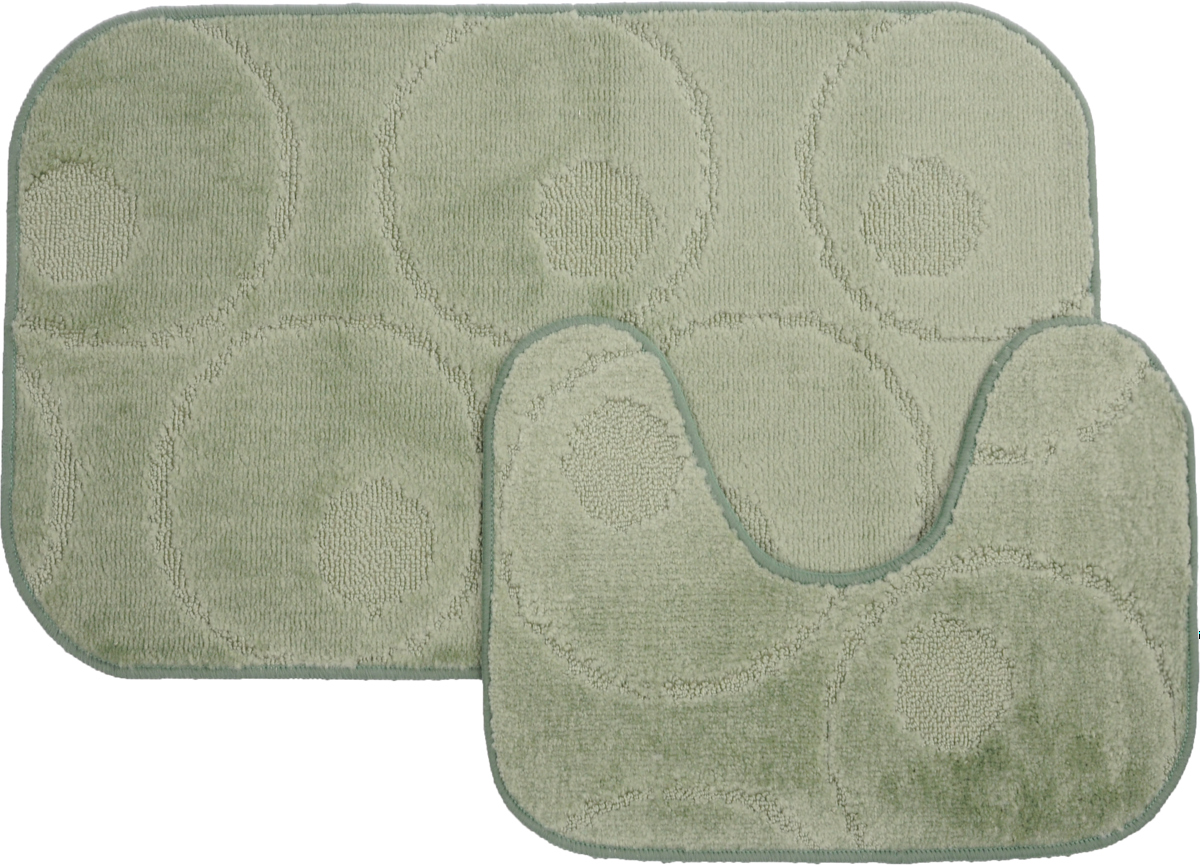Набор ковриков для ванной MAC Carpet Рома. Круги, цвет: светло-зеленый, 50 х 80 см, 50 х 40 см, 2 шт531-105Набор MAC Carpet Рома. Круги, выполненный из полипропилена, состоит из двух ковриков для ванной комнаты, один из которых имеет вырез под унитаз. Противоскользящее основание изготовлено из термопластичной резины. Коврики мягкие и приятные на ощупь, отлично впитывают влагу и быстро сохнут. Высокая износостойкость ковриков и стойкость цвета позволит вам наслаждаться покупкой долгие годы. Можно стирать вручную или в стиральной машине на деликатном режиме при температуре 30°С.