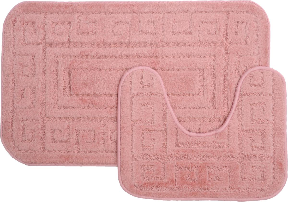 Набор ковриков для ванной MAC Carpet Рома. Версаче, цвет: розовый, 50 х 80 см, 50 х 40 см, 2 шт391602Набор MAC Carpet Рома. Версаче, выполненный из полипропилена, состоит из двух ковриков для ванной комнаты, один из которых имеет вырез под унитаз. Противоскользящее основание изготовлено из термопластичной резины. Коврики мягкие и приятные на ощупь, отлично впитывают влагу и быстро сохнут. Высокая износостойкость ковриков и стойкость цвета позволит вам наслаждаться покупкой долгие годы. Можно стирать вручную или в стиральной машине на деликатном режиме при температуре 30°С.