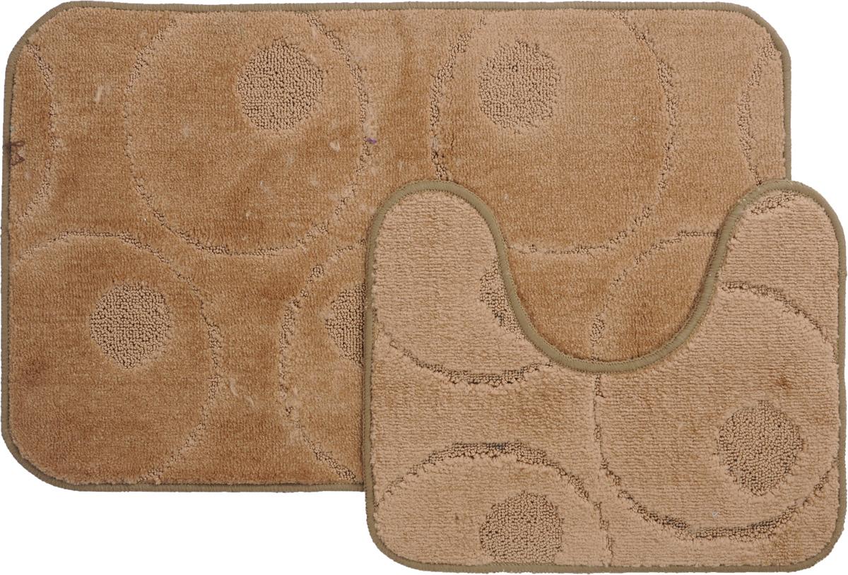 Набор ковриков для ванной MAC Carpet Рома. Круги, цвет: коричневый, 50 х 80 см, 50 х 40 см, 2 штRG-D31SНабор MAC Carpet Рома. Круги, выполненный из полипропилена, состоит из двух ковриков для ванной комнаты, один из которых имеет вырез под унитаз. Противоскользящее основание изготовлено из термопластичной резины. Коврики мягкие и приятные на ощупь, отлично впитывают влагу и быстро сохнут. Высокая износостойкость ковриков и стойкость цвета позволит вам наслаждаться покупкой долгие годы. Можно стирать вручную или в стиральной машине на деликатном режиме при температуре 30°С.