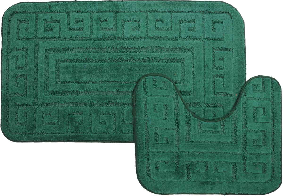 Набор ковриков для ванной MAC Carpet Рома. Версаче, цвет: темно-зеленый, 60 х 100 см, 50 х 60 см, 2 штPANTERA SPX-2RSНабор MAC Carpet Рома. Версаче, выполненный из полипропилена, состоит из двух ковриков для ванной комнаты, один из которых имеет вырез под унитаз. Противоскользящее основание изготовлено из термопластичной резины. Коврики мягкие и приятные на ощупь, отлично впитывают влагу и быстро сохнут. Высокая износостойкость ковриков и стойкость цвета позволит вам наслаждаться покупкой долгие годы. Можно стирать вручную или в стиральной машине на деликатном режиме при температуре 30°С.