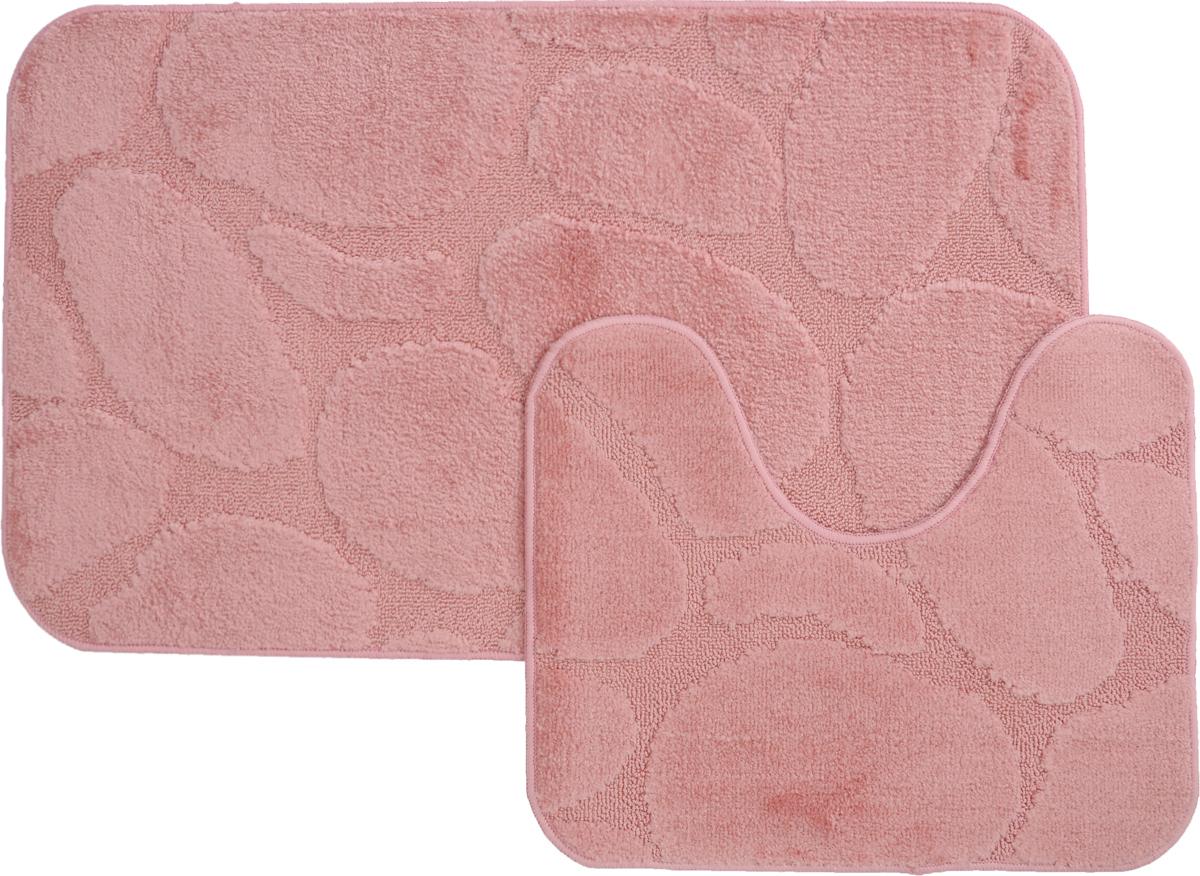 Набор ковриков для ванной MAC Carpet Рома. Камни, цвет: розовый, 60 х 100 см, 50 х 60 см, 2 шт68/5/3Набор MAC Carpet Рома. Камни, выполненный из полипропилена, состоит из двух ковриков для ванной комнаты, один из которых имеет вырез под унитаз. Противоскользящее основание изготовлено из термопластичной резины. Коврики мягкие и приятные на ощупь, отлично впитывают влагу и быстро сохнут. Высокая износостойкость ковриков и стойкость цвета позволит вам наслаждаться покупкой долгие годы. Можно стирать вручную или в стиральной машине на деликатном режиме при температуре 30°С.