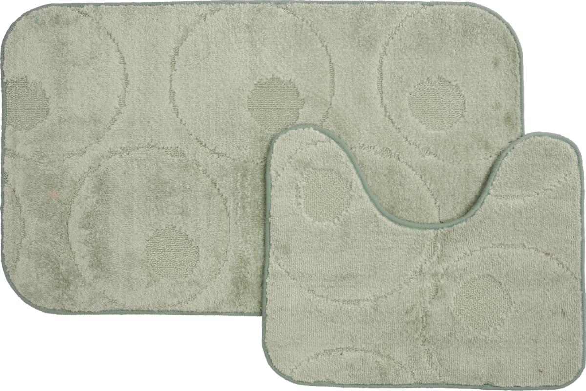 Набор ковриков для ванной MAC Carpet Рома. Круги, цвет: светло-зеленый, 60 х 100 см, 50 х 60 см, 2 шт21788Набор MAC Carpet Рома. Круги, выполненный из полипропилена, состоит из двух ковриков для ванной комнаты, один из которых имеет вырез под унитаз. Противоскользящее основание изготовлено из термопластичной резины. Коврики мягкие и приятные на ощупь, отлично впитывают влагу и быстро сохнут. Высокая износостойкость ковриков и стойкость цвета позволит вам наслаждаться покупкой долгие годы. Можно стирать вручную или в стиральной машине на деликатном режиме при температуре 30°С.