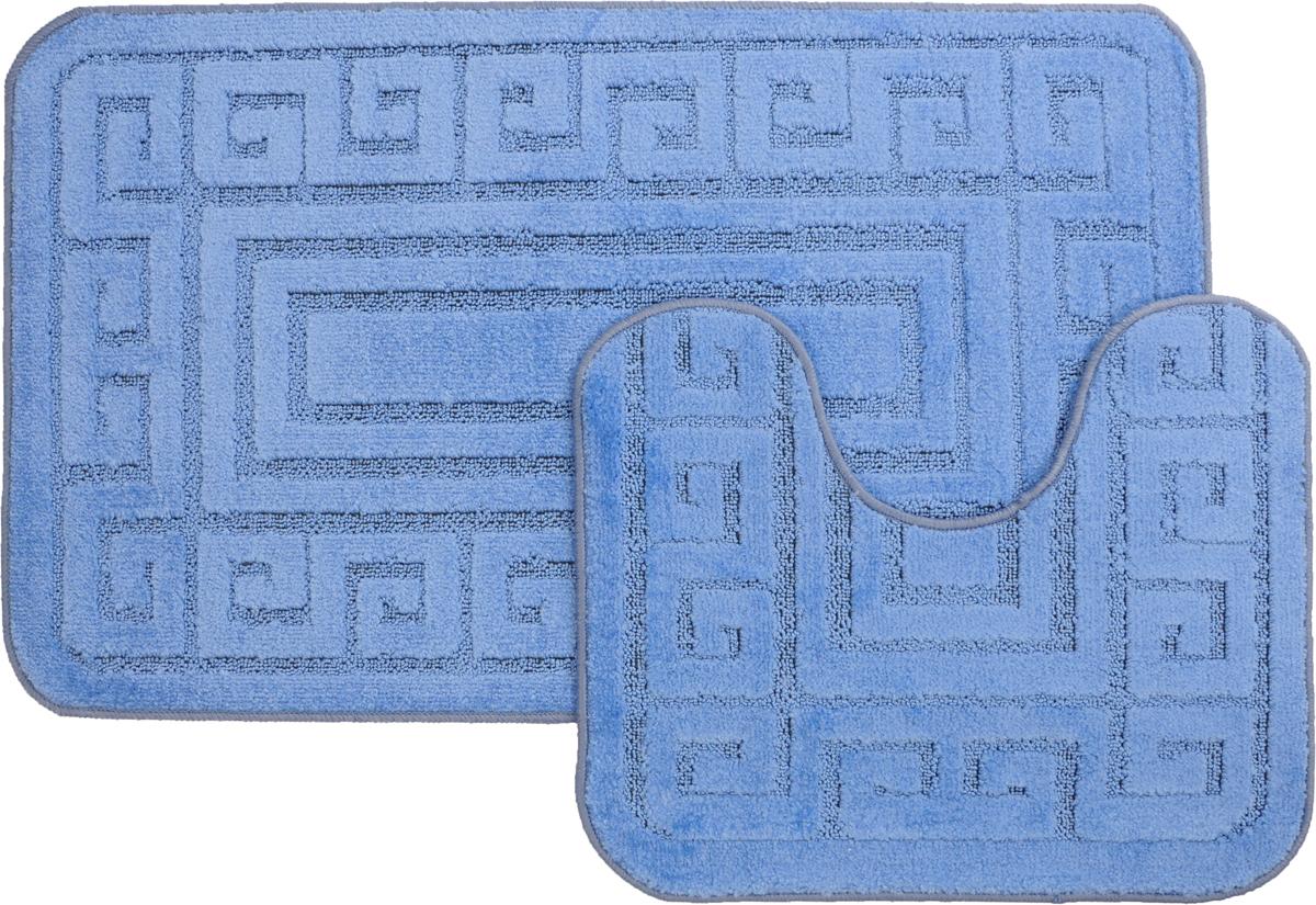 Набор ковриков для ванной MAC Carpet Рома. Версаче, цвет: голубой, 60 х 100 см, 50 х 60 см, 2 штS03301004Набор MAC Carpet Рома. Версаче, выполненный из полипропилена, состоит из двух ковриков для ванной комнаты, один из которых имеет вырез под унитаз. Противоскользящее основание изготовлено из термопластичной резины. Коврики мягкие и приятные на ощупь, отлично впитывают влагу и быстро сохнут. Высокая износостойкость ковриков и стойкость цвета позволит вам наслаждаться покупкой долгие годы. Можно стирать вручную или в стиральной машине на деликатном режиме при температуре 30°С.