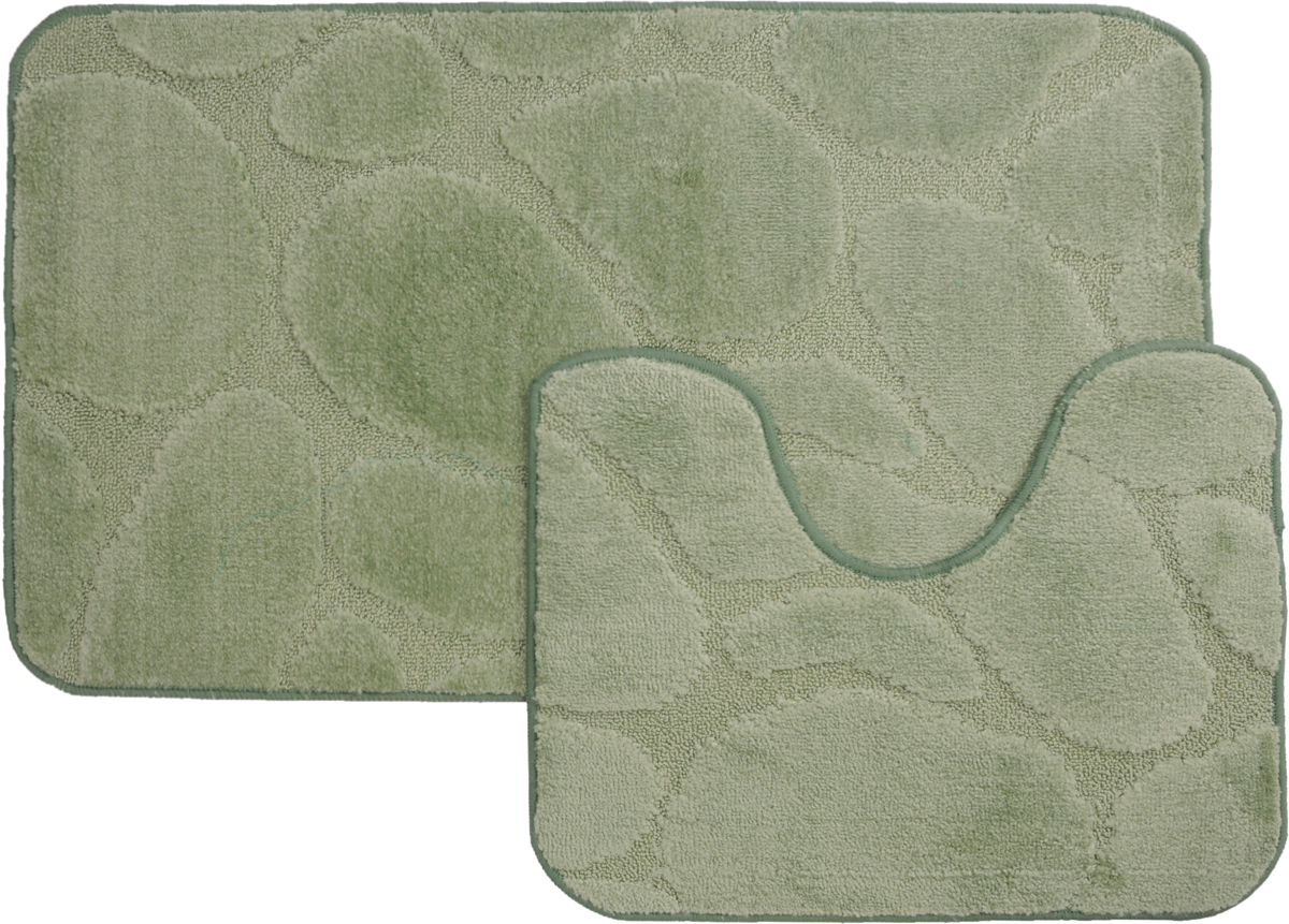 Набор ковриков для ванной MAC Carpet Рома. Камни, цвет: светло-зеленый, 60 х 100 см, 50 х 60 см, 2 шт391602Набор MAC Carpet Рома. Камни, выполненный из полипропилена, состоит из двух ковриков для ванной комнаты, один из которых имеет вырез под унитаз. Противоскользящее основание изготовлено из термопластичной резины. Коврики мягкие и приятные на ощупь, отлично впитывают влагу и быстро сохнут. Высокая износостойкость ковриков и стойкость цвета позволит вам наслаждаться покупкой долгие годы. Можно стирать вручную или в стиральной машине на деликатном режиме при температуре 30°С.
