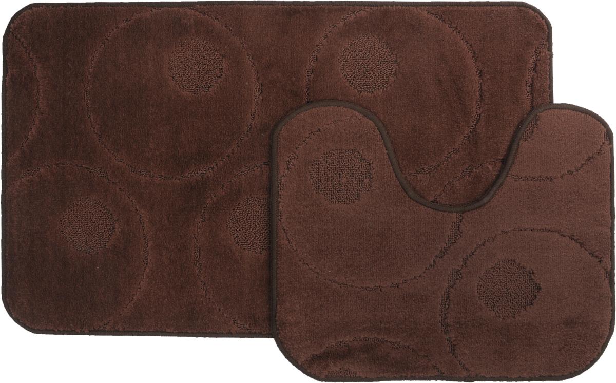 Набор ковриков для ванной MAC Carpet Рома. Круги, цвет: темно-коричневый, 60 х 100 см, 50 х 60 см, 2 шт391602Набор MAC Carpet Рома. Круги, выполненный из полипропилена, состоит из двух ковриков для ванной комнаты, один из которых имеет вырез под унитаз. Противоскользящее основание изготовлено из термопластичной резины. Коврики мягкие и приятные на ощупь, отлично впитывают влагу и быстро сохнут. Высокая износостойкость ковриков и стойкость цвета позволит вам наслаждаться покупкой долгие годы. Можно стирать вручную или в стиральной машине на деликатном режиме при температуре 30°С.