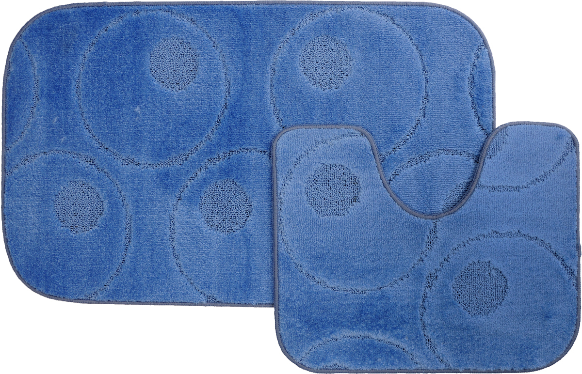 Набор ковриков для ванной MAC Carpet Рома. Круги, цвет: синий, 60 х 100 см, 50 х 60 см, 2 штa030041Набор MAC Carpet Рома. Круги, выполненный из полипропилена, состоит из двух ковриков для ванной комнаты, один из которых имеет вырез под унитаз. Противоскользящее основание изготовлено из термопластичной резины. Коврики мягкие и приятные на ощупь, отлично впитывают влагу и быстро сохнут. Высокая износостойкость ковриков и стойкость цвета позволит вам наслаждаться покупкой долгие годы. Можно стирать вручную или в стиральной машине на деликатном режиме при температуре 30°С.