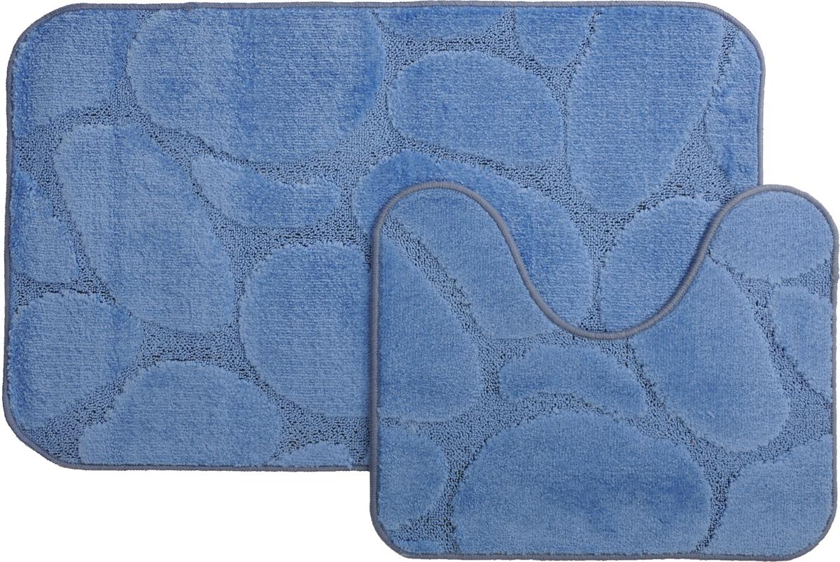 Набор ковриков для ванной MAC Carpet Рома. Камни, цвет: синий, 60 х 100 см, 50 х 60 см, 2 шт391602Набор MAC Carpet Рома. Камни, выполненный из полипропилена, состоит из двух ковриков для ванной комнаты, один из которых имеет вырез под унитаз. Противоскользящее основание изготовлено из термопластичной резины. Коврики мягкие и приятные на ощупь, отлично впитывают влагу и быстро сохнут. Высокая износостойкость ковриков и стойкость цвета позволит вам наслаждаться покупкой долгие годы. Можно стирать вручную или в стиральной машине на деликатном режиме при температуре 30°С.