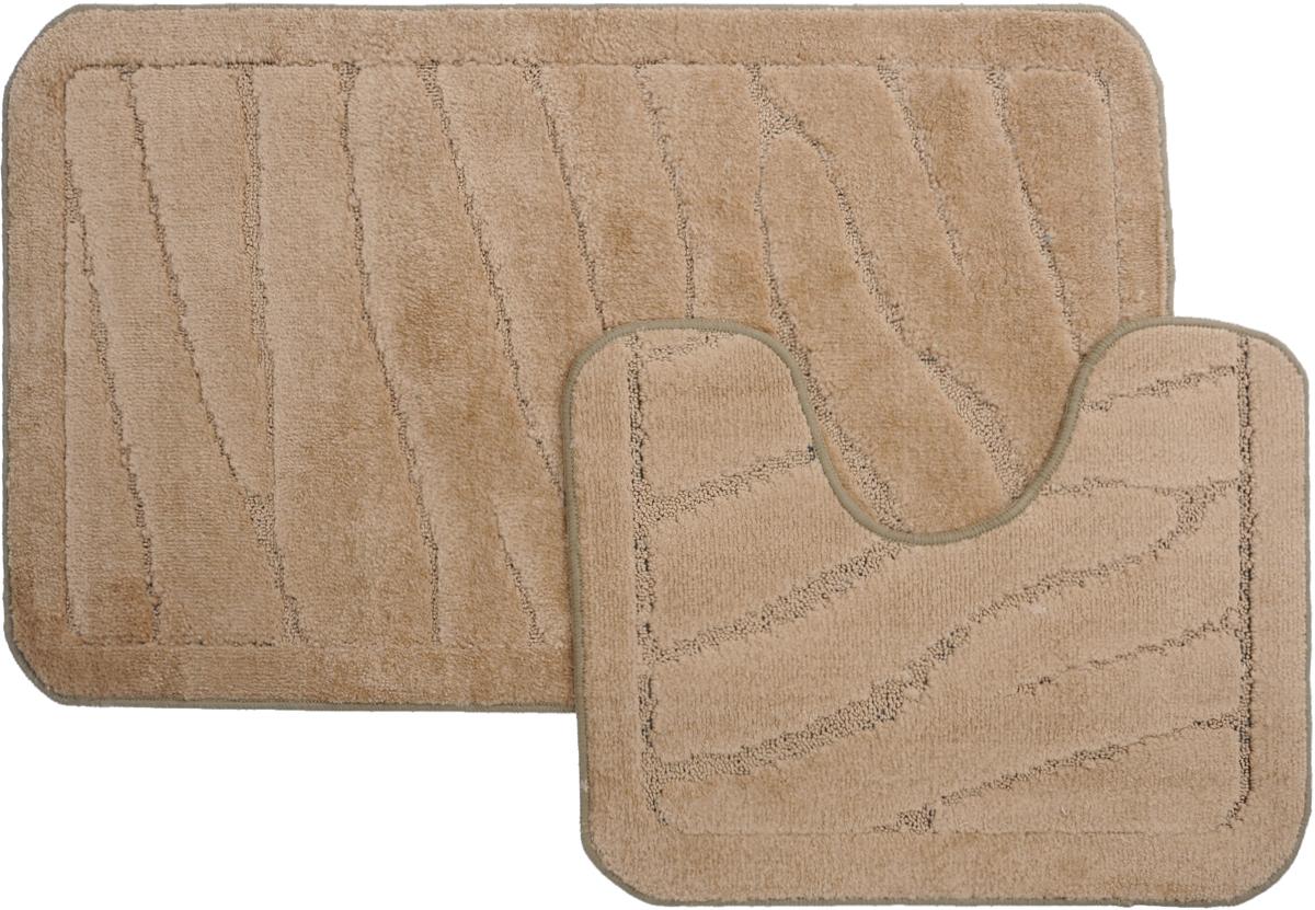 Набор ковриков для ванной MAC Carpet Рома. Линии, цвет: светло-коричневый, 60 х 100 см, 50 х 60 см, 2 шт68/5/4Набор MAC Carpet Рома. Линии, выполненный из полипропилена, состоит из двух ковриков для ванной комнаты, один из которых имеет вырез под унитаз. Противоскользящее основание изготовлено из термопластичной резины. Коврики мягкие и приятные на ощупь, отлично впитывают влагу и быстро сохнут. Высокая износостойкость ковриков и стойкость цвета позволит вам наслаждаться покупкой долгие годы. Можно стирать вручную или в стиральной машине на деликатном режиме при температуре 30°С.