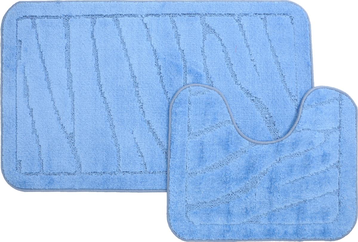 Набор ковриков для ванной MAC Carpet Рома. Линии, цвет: голубой, 60 х 100 см, 50 х 60 см, 2 шт21895Набор MAC Carpet Рома. Линии, выполненный из полипропилена, состоит из двух ковриков для ванной комнаты, один из которых имеет вырез под унитаз. Противоскользящее основание изготовлено из термопластичной резины. Коврики мягкие и приятные на ощупь, отлично впитывают влагу и быстро сохнут. Высокая износостойкость ковриков и стойкость цвета позволит вам наслаждаться покупкой долгие годы. Можно стирать вручную или в стиральной машине на деликатном режиме при температуре 30°С.