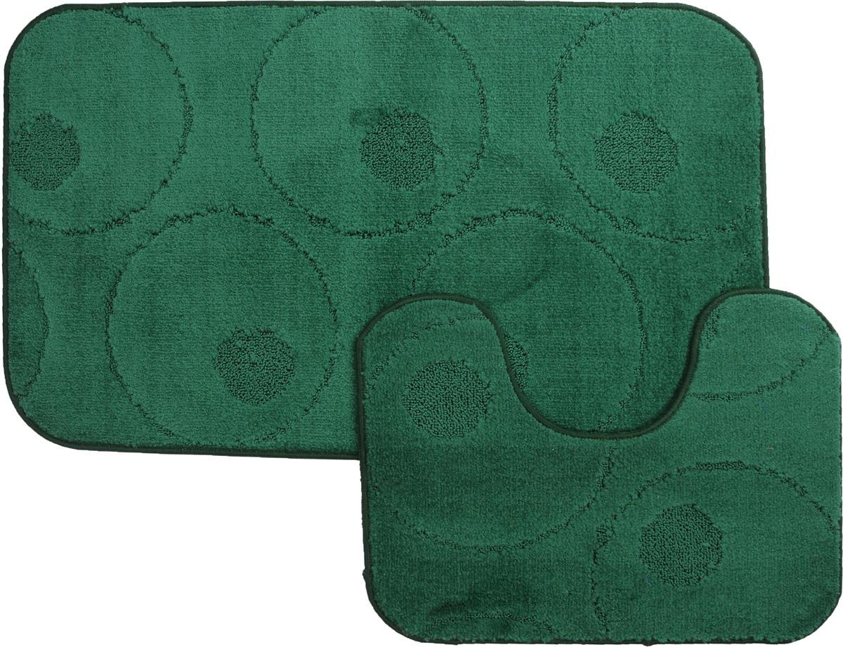 Набор ковриков для ванной MAC Carpet Рома. Круги, цвет: темно-зеленый, 60 х 100 см, 50 х 60 см, 2 штRG-D31SНабор MAC Carpet Рома. Круги, выполненный из полипропилена, состоит из двух ковриков для ванной комнаты, один из которых имеет вырез под унитаз. Противоскользящее основание изготовлено из термопластичной резины. Коврики мягкие и приятные на ощупь, отлично впитывают влагу и быстро сохнут. Высокая износостойкость ковриков и стойкость цвета позволит вам наслаждаться покупкой долгие годы. Можно стирать вручную или в стиральной машине на деликатном режиме при температуре 30°С.тиральной машине на деликатном режиме при температуре 30°С.