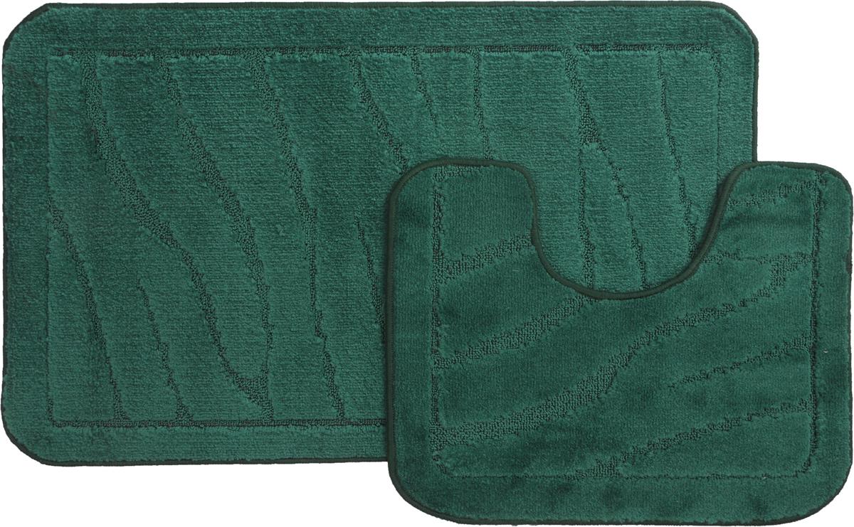 Набор ковриков для ванной MAC Carpet Рома. Линии, цвет: темно-зеленый, 60 х 100 см, 50 х 60 см, 2 шт391602Набор MAC Carpet Рома. Линии, выполненный из полипропилена, состоит из двух ковриков для ванной комнаты, один из которых имеет вырез под унитаз. Противоскользящее основание изготовлено из термопластичной резины. Коврики мягкие и приятные на ощупь, отлично впитывают влагу и быстро сохнут. Высокая износостойкость ковриков и стойкость цвета позволит вам наслаждаться покупкой долгие годы. Можно стирать вручную или в стиральной машине на деликатном режиме при температуре 30°С.
