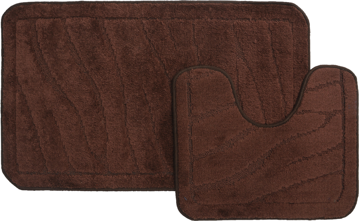 Набор ковриков для ванной MAC Carpet Рома. Линии, цвет: темно-коричневый, 60 х 100 см, 50 х 60 см, 2 шт391602Набор MAC Carpet Рома. Линии, выполненный из полипропилена, состоит из двух ковриков для ванной комнаты, один из которых имеет вырез под унитаз. Противоскользящее основание изготовлено из термопластичной резины. Коврики мягкие и приятные на ощупь, отлично впитывают влагу и быстро сохнут. Высокая износостойкость ковриков и стойкость цвета позволит вам наслаждаться покупкой долгие годы. Можно стирать вручную или в стиральной машине на деликатном режиме при температуре 30°С.