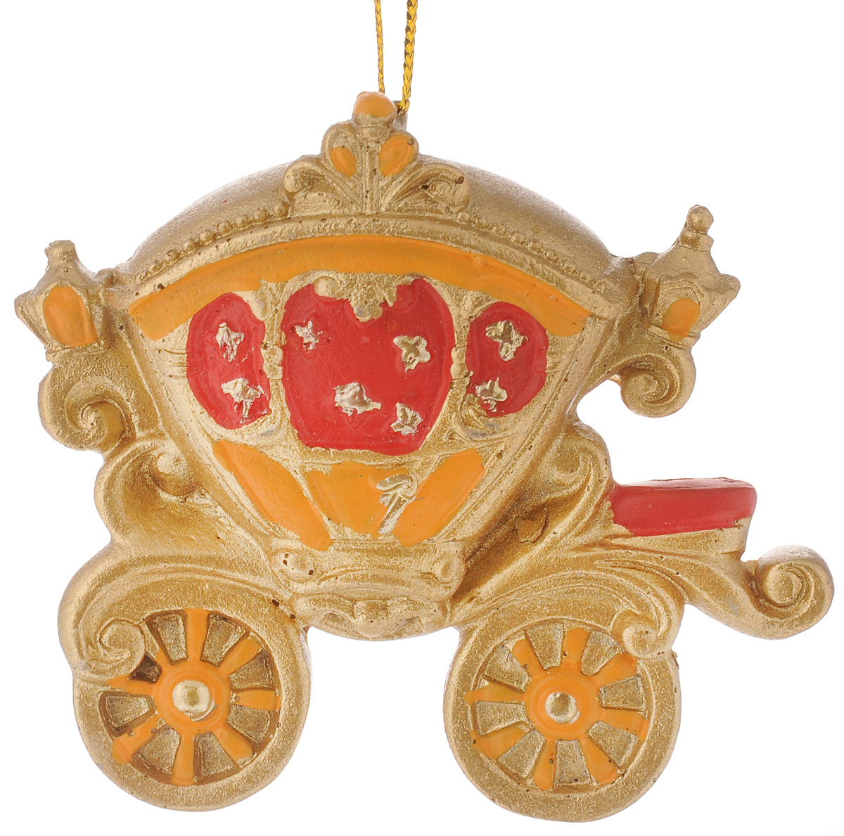 Украшение новогоднее подвесное Феникс-Презент Карета, высота 7 см127835Новогоднее украшение Феникс-Презент Карета отлично подойдет для декорации вашего дома и новогодней ели. Изделие выполнено из полирезины и оснащено специальной петелькой для подвешивания.Елочная игрушка - символ Нового года. Она несет в себе волшебство и красоту праздника. Создайте в своем доме атмосферу веселья и радости, украшая всей семьей новогоднюю елку нарядными игрушками, которые будут из года в год накапливать теплоту воспоминаний.Размер фигурки: 7 х 3 х 7 см.