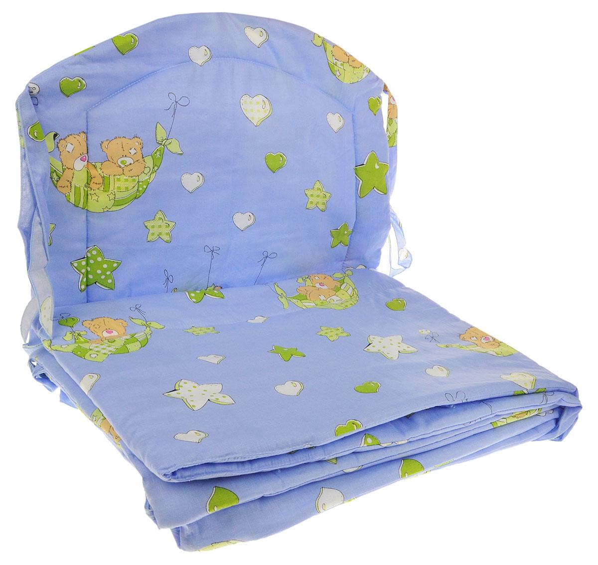 Фея Борт комбинированный 405 Мишка в гамаке цвет голубой -  Бортики, бамперы